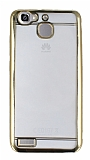 Eiroo Color Fit Huawei GR3 Gold Kenarlı Şeffaf Silikon Kılıf