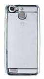Eiroo Color Fit Huawei GR3 Silver Kenarlı Şeffaf Silikon Kılıf