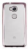 Huawei GR5 Pembe Kenarlı Şeffaf Silikon Kılıf