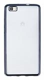 Huawei P8 Lite Siyah Kenarlı Şeffaf Silikon Kılıf