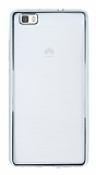 Huawei P8 Lite Silver Kenarlı Şeffaf Silikon Kılıf