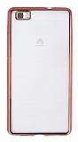 Huawei P8 Lite Rose Gold Kenarlı Şeffaf Silikon Kılıf