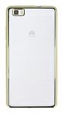 Huawei P8 Lite Gold Kenarlı Şeffaf Silikon Kılıf