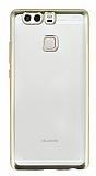 Huawei P9 Gold Kenarlı Şeffaf Silikon Kılıf