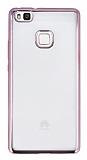 Eiroo Color Fit Huawei P9 Lite Rose Gold Kenarlı Şeffaf Silikon Kılıf