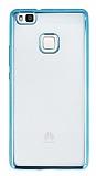 Huawei P9 Lite Mavi Kenarlı Şeffaf Silikon Kılıf