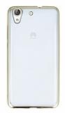 Huawei Y6 ii Gold Kenarlı Şeffaf Silikon Kılıf