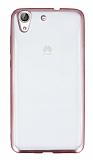 Huawei Y6 ii Rose Gold Kenarlı Şeffaf Silikon Kılıf