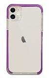 Eiroo Color Fit iPhone 12 6.1 inç Kamera Korumalı Mor Silikon Kılıf