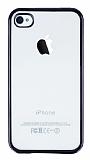 iPhone 4 / 4S Siyah Kenarlı Şeffaf Silikon Kılıf