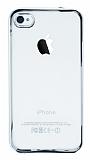 iPhone 4 / 4S Silver Kenarlı Şeffaf Silikon Kılıf