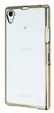 Sony Xperia Z1 Gold Kenarlı Şeffaf Silikon Kılıf