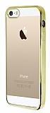 Eiroo Color Fit iPhone 5 / 5S Gold Kenarl� �effaf Silikon K�l�f