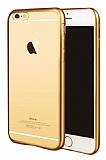 iPhone 7 Plus Gold Kenarlı Şeffaf Silikon Kılıf