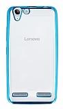 Lenovo Vibe K5 Mavi Kenarlı Şeffaf Silikon Kılıf