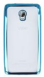 Lenovo Vibe P1 Mavi Kenarlı Şeffaf Silikon Kılıf