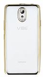 Eiroo Color Fit Lenovo Vibe P1m Gold Kenarlı Şeffaf Silikon Kılıf