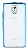 Lenovo Vibe P1m Mavi Kenarlı Şeffaf Silikon Kılıf