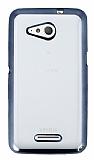 Eiroo Color Fit Sony Xperia E4g Siyah Kenarlı Şeffaf Silikon Kılıf