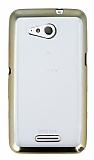 Sony Xperia E4g Gold Kenarlı Şeffaf Silikon Kılıf