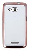 Sony Xperia E4g Rose Gold Kenarlı Şeffaf Silikon Kılıf