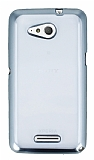 Sony Xperia E4g Silver Kenarlı Şeffaf Silikon Kılıf