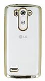LG G3 S / G3 Beat Gold Kenarlı Şeffaf Silikon Kılıf