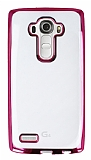 LG G4 Pembe Kenarlı Şeffaf Silikon Kılıf