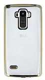 LG G4 Stylus Gold Kenarlı Şeffaf Silikon Kılıf