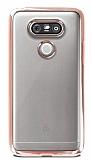 Eiroo Color Fit LG G5 Pembe Kenarlı Şeffaf Silikon Kılıf