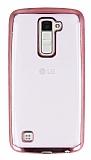 LG K10 Rose Gold Kenarlı Şeffaf Silikon Kılıf