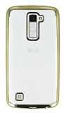 LG K10 Gold Kenarlı Şeffaf Silikon Kılıf