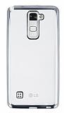 LG Stylus 2 / Stylus 2 Plus Silver Kenarlı Şeffaf Silikon Kılıf