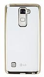 Eiroo Color Fit LG Stylus 2 Gold Kenarlı Şeffaf Silikon Kılıf