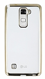 LG Stylus 2 / Stylus 2 Plus Gold Kenarlı Şeffaf Silikon Kılıf