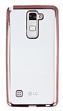 LG Stylus 2 / Stylus 2 Plus Rose Gold Kenarlı Şeffaf Silikon Kılıf