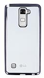 Eiroo Color Fit LG Stylus 2 Siyah Kenarlı Şeffaf Silikon Kılıf