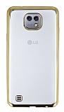 Eiroo Color Fit LG X cam Gold Kenarlı Şeffaf Silikon Kılıf