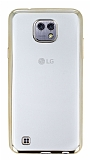 Eiroo Color Fit LG X Gold Kenarl� �effaf Silikon K�l�f