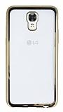 LG X screen Gold Kenarlı Şeffaf Silikon Kılıf