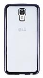 LG X screen Siyah Kenarlı Şeffaf Silikon Kılıf