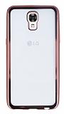 LG X screen Rose Gold Kenarlı Şeffaf Silikon Kılıf