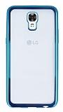 LG X screen Mavi Kenarlı Şeffaf Silikon Kılıf
