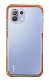 Eiroo Color Fit Xiaomi Mi 11 Lite Kamera Korumalı Turuncu Silikon Kılıf