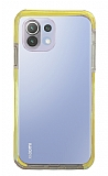Eiroo Color Fit Xiaomi Mi 11 Lite Kamera Korumalı Sarı Silikon Kılıf