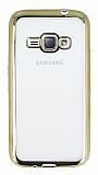 Eiroo Color Fit Samsung Galaxy J1 2016 Gold Kenarlı Şeffaf Silikon Kılıf