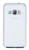 Eiroo Color Fit Samsung Galaxy J1 2016 Silver Kenarlı Şeffaf Silikon Kılıf