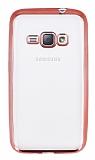 Eiroo Color Fit Samsung Galaxy J1 2016 Rose Gold Kenarlı Şeffaf Silikon Kılıf