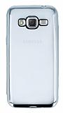Eiroo Color Fit Samsung Galaxy J3 2016 Silver Kenarlı Şeffaf Silikon Kılıf