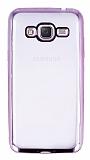 Eiroo Color Fit Samsung Galaxy J3 2016 Pembe Kenarlı Şeffaf Silikon Kılıf